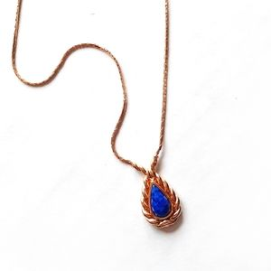 Vintage Christian Dior Blue Gold Pendant Necklace